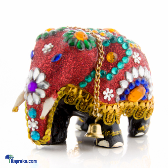 Wooden Elephant With Beeds & Sequins - Red Online at Kapruka | Product# CBornmnt00004