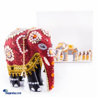 Wooden Decorated Elephant In Red - 4 Inch Online at Kapruka   Product# CBornmnt00006
