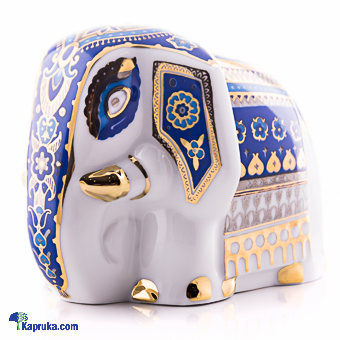 Sri Lankan Porcelain Elephant - Blue & Gold Online at Kapruka | Product# CBsouven00046