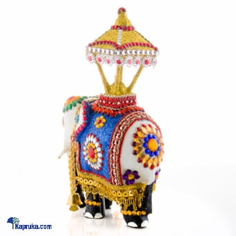 Kapruka Online Shopping Product Wooden Casket White Elephant Decorated With Beeds