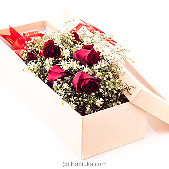 Half Dozen Red Roses In Recycled Paper Box at Kapruka Online for flowers