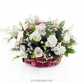 Sympathy White Rose Basket at Kapruka Online for flowers