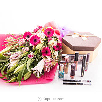 Brighten Her Day Flower Bunch With Cosmetic Gift Pack at Kapruka Online for flowers