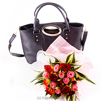 Pretty Women Bunch Of Roses With Handbag  By Flower Republic at Kapruka Online forflowers