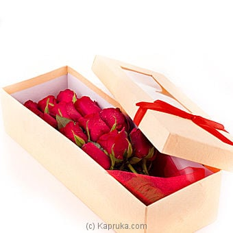 Dozen Red Roses In Recycled Paper Box Online at Kapruka | Product# flowers00T134