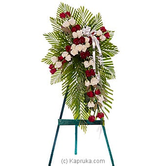 Funeral Wreath With White And Red Roses at Kapruka Online for flowers