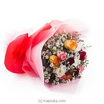 Dozen Multicolored Roses Bouquet Online at Kapruka | Product# flowers00B04