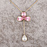Kapruka Online Shopping Product Pink Crystal Stones Pendant With Chain