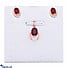 Kapruka Online Shopping Product Vogue Diamond And Red Garnets Stone 18K Gold Pendant And Ear Stud Set