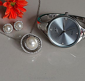 Watch With Pearl Jewelry Set at Kapruka Online for specialGifts