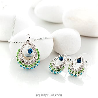 Silver Peacock Pendant with Earring (po591/po591E) at Kapruka Online for specialGifts
