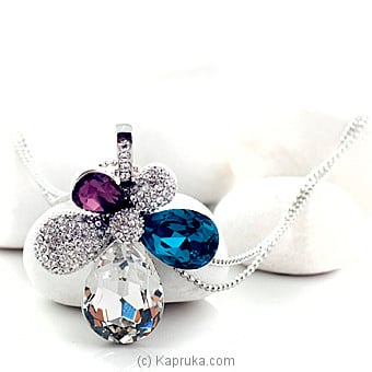 Colorful Crystal Necklace With Silver Chain (KI0225) at Kapruka Online for specialGifts