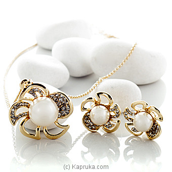 Gold Pearl  Jewelry Set (po637/po637E) at Kapruka Online for specialGifts