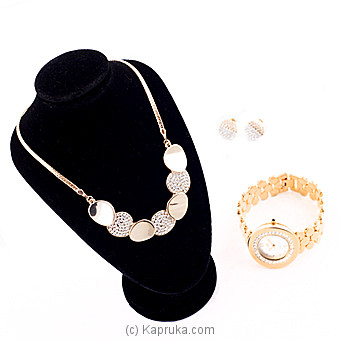 White Crystal Stones Fashion Jewelry Set With Watch(3) at Kapruka Online for specialGifts