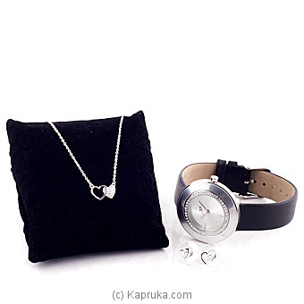 Double Heart Silver Fashion Jewelry With Watch (10) at Kapruka Online for specialGifts