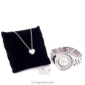 Crystal Stones Silver Jewelry With Quartz Watch (9) at Kapruka Online for specialGifts