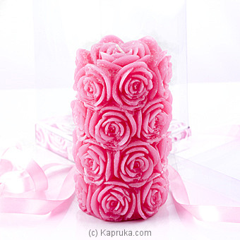 Rose Flower Scented Pink Cylinder Candle at Kapruka Online for specialGifts