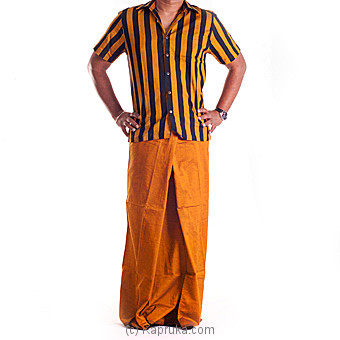 Mustard Black Stripes Handloom Shirt And Sarong at Kapruka Online for specialGifts