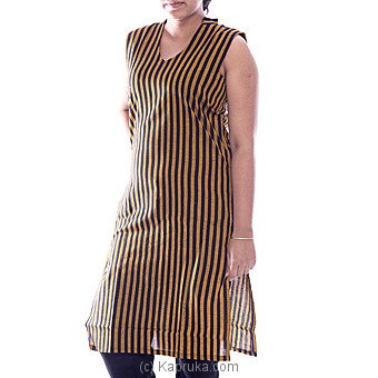 Black With Musterd Stripes Sleeveless Kurutha at Kapruka Online for specialGifts