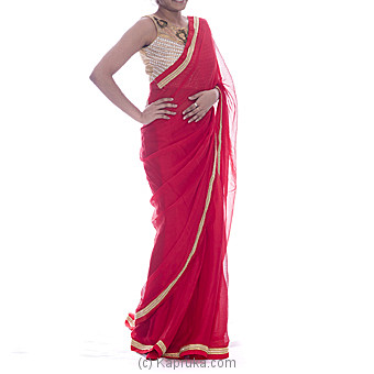 Elegant Royal Red Designer Saree With Blouse at Kapruka Online for specialGifts