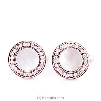 Silver Cufflink Pair With Crystal Stones at Kapruka Online for specialGifts