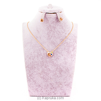 Heart Crystal Necklace With Earring at Kapruka Online for specialGifts