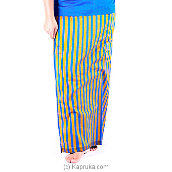 Peacock Blue stripes lungi with blouse meterial at Kapruka Online