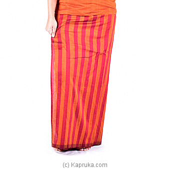Red And Orange Stripes  Handloom Lungi With Blouse Meterial at Kapruka Online for specialGifts