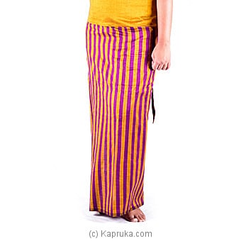 Handloom Musterd Color Lungi With Purple Stripes at Kapruka Online for specialGifts