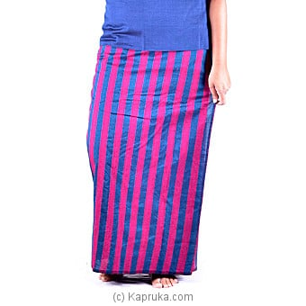 Blue Handloom Lungi With Red Stripes - XL at Kapruka Online