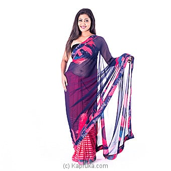 Floral Printed Silk Designer Saree at Kapruka Online