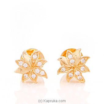 22K Gold Ear Stud Set With 16 (c/z) Rounds at Kapruka Online for specialGifts