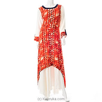 Orange Printed Designer Kurti With Skirt at Kapruka Online for specialGifts