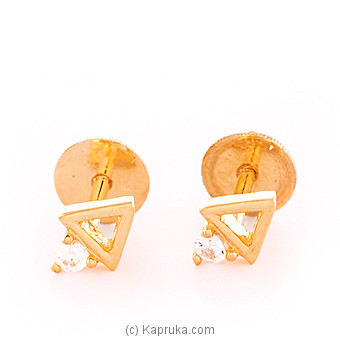 22K Gold  Ear Stud Set With 2(c/z) Rounds at Kapruka Online for specialGifts