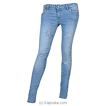 LICC Ladie`s Light Blue Skinny Fit Ripped Jeans at Kapruka Online for specialGifts