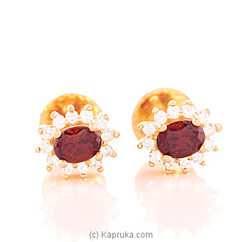 22K Gold  Ear Stud Set With Color Stone 26(c/z) Rounds at Kapruka Online for specialGifts