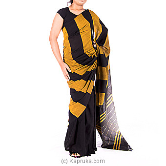 Black And Yellow Handloom Cotton Saree at Kapruka Online for specialGifts
