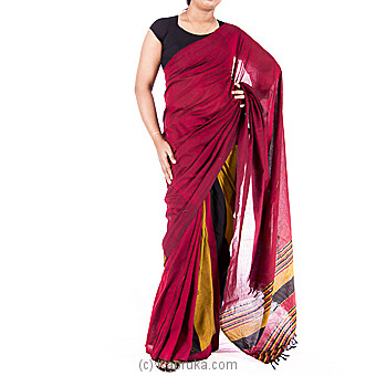 Mustard with Maroon color Handloom Meroon Saree at Kapruka Online for specialGifts