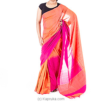 Pink and Orange Handloom Saree at Kapruka Online for specialGifts