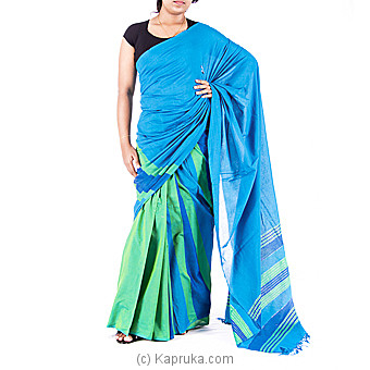 aqua blue with green Handloom Saree at Kapruka Online for specialGifts