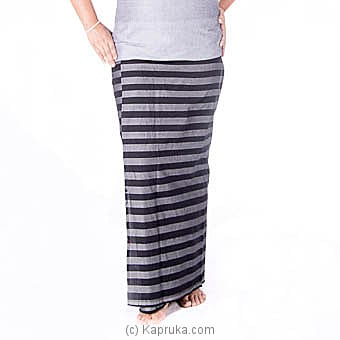 Ash And Black Strips Handloom Lungi With Blouse Meterial at Kapruka Online for specialGifts