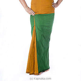 Green And Yellow Pleated Handloom Lungi With Blouse Material at Kapruka Online for specialGifts
