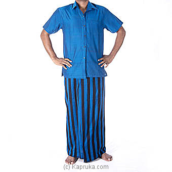 Blue with black stripes handloom sarong with shirt at Kapruka Online for specialGifts