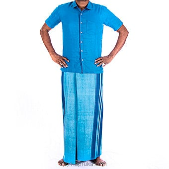 Linen Blue Shirt With Cotton Blue Sarong - Large at Kapruka Online for specialGifts