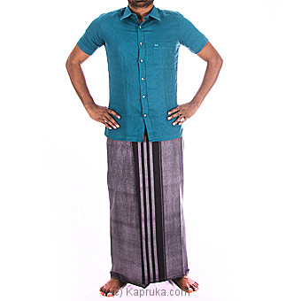 Linen Aqua Blue Shirt With Cotton Gray Sarong at Kapruka Online for specialGifts