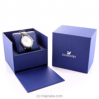 Swarovski Graceful Lady Watch, Leather Strap, Black, Silver Tone at Kapruka Online for specialGifts