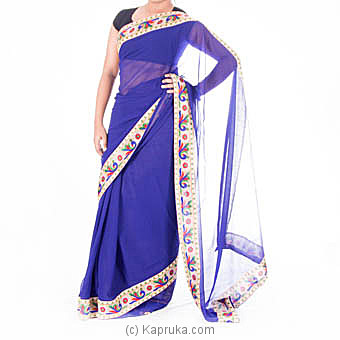 Blue Printed Border Saree With Blouse Piece at Kapruka Online for specialGifts