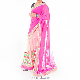 Multicolor Georgette Embroidered Saree With Blouse Piece at Kapruka Online for specialGifts