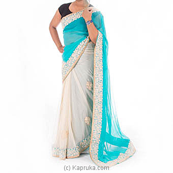 Blue And Beige Color Embroidery Saree With  Blouse Piece at Kapruka Online for specialGifts