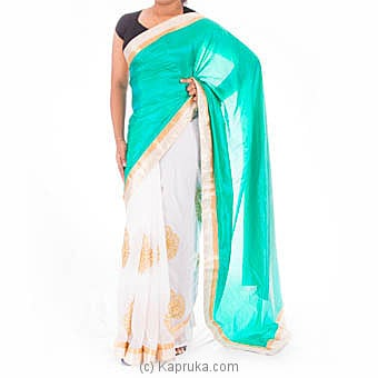 Green &White Silk Saree With Blouse Piece at Kapruka Online for specialGifts